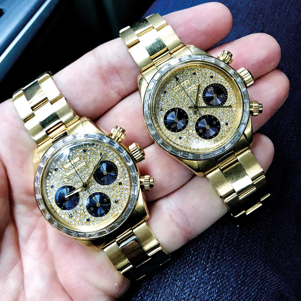 Unicorn Duo: A pair of hyper-rare reference 6270 with baguette diamond bezels and purple sub dials.