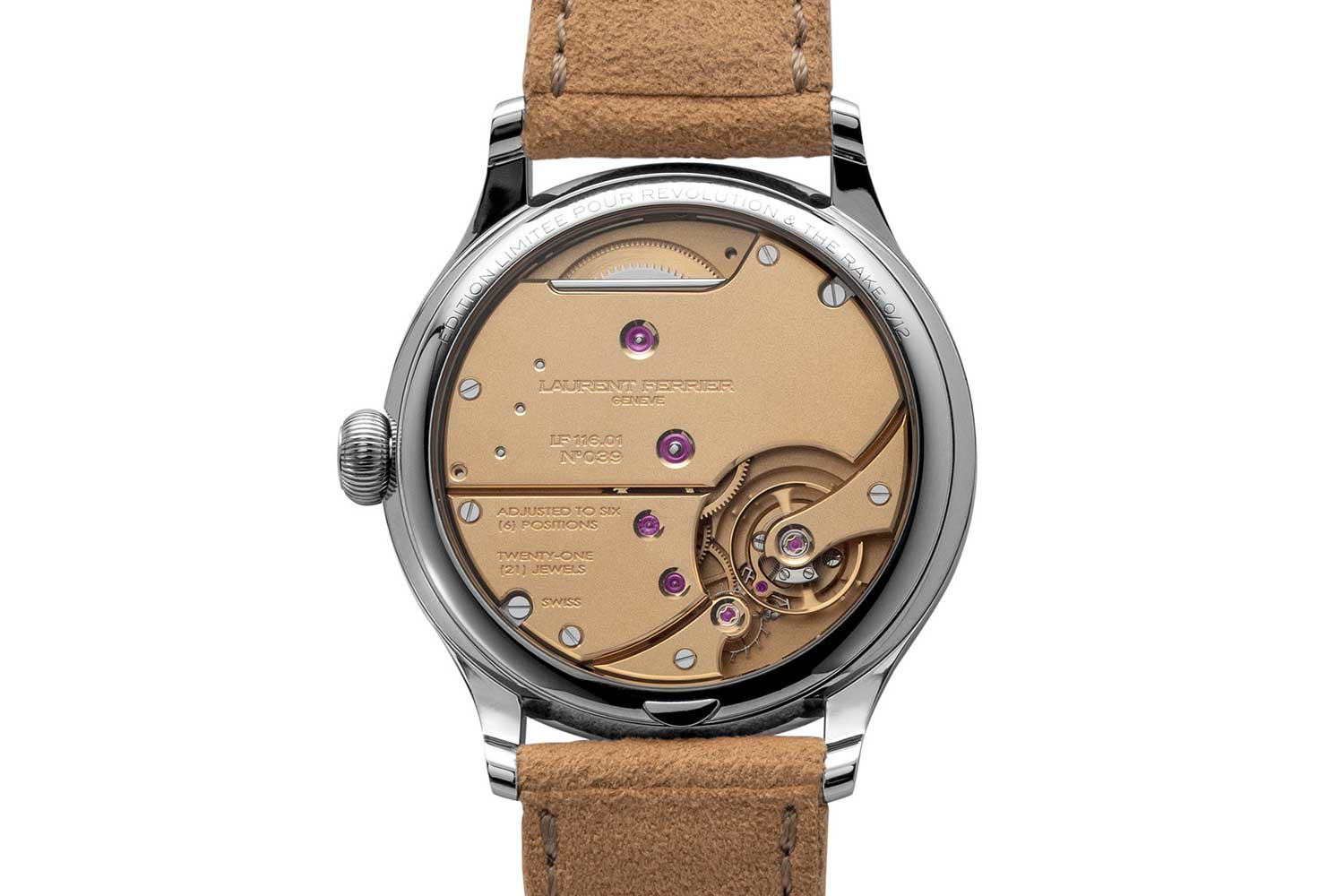 Laurent Ferrier Classic Origin for Revolution & The Rake has its movement treated in a special yellow-gold finish that is micro-sandblasted, used previously in the Montre École watch (©Revolution)