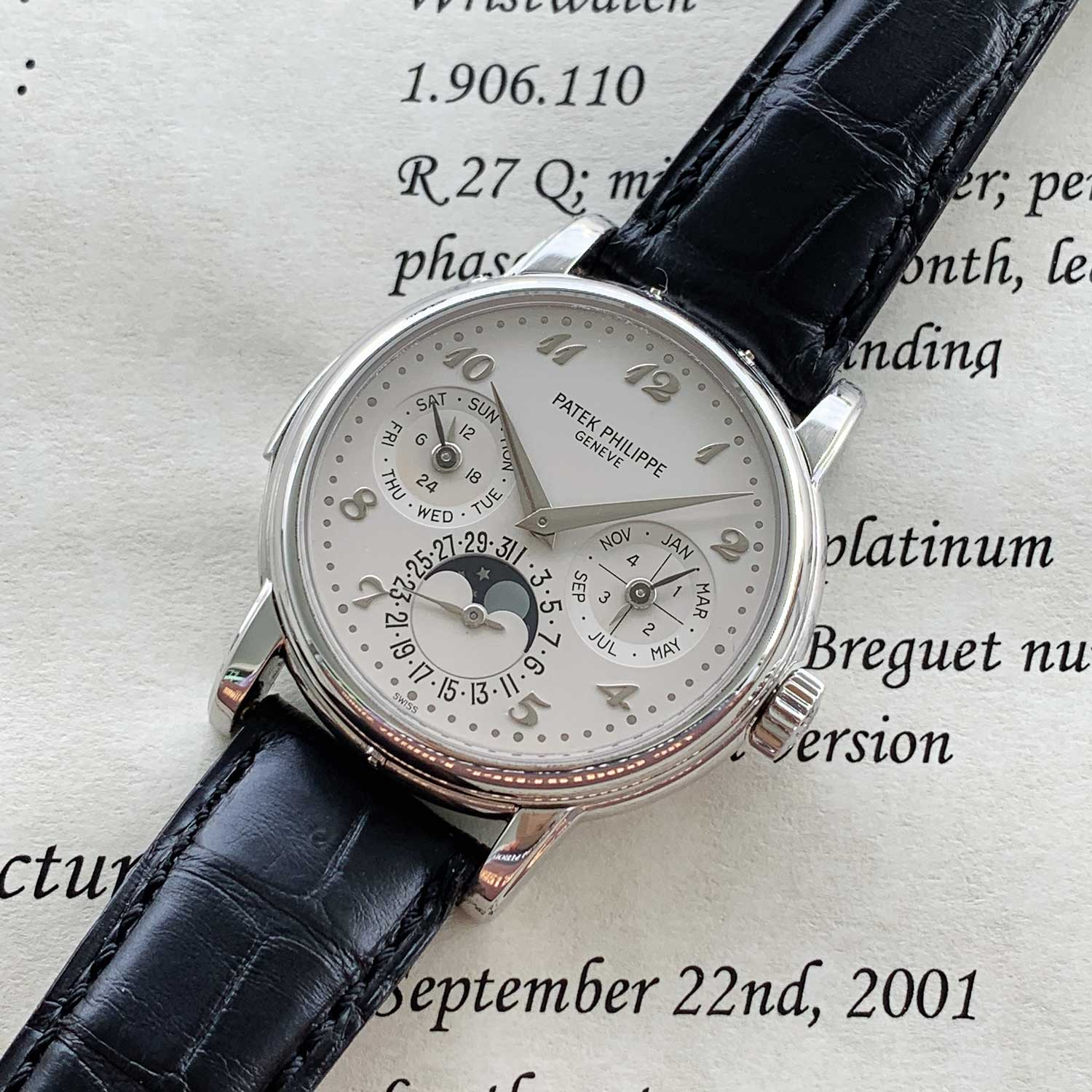 A very rare Patek Philippe ref 3974 in white gold with applied Breguet numerals.