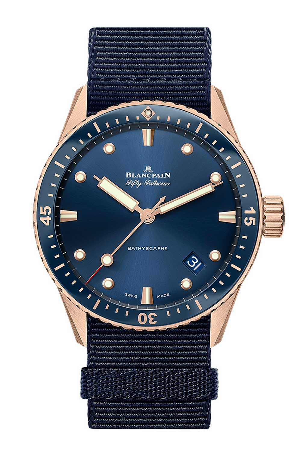 The Fifty Fathoms Bathyscaphe (Blue in Sedna Gold)