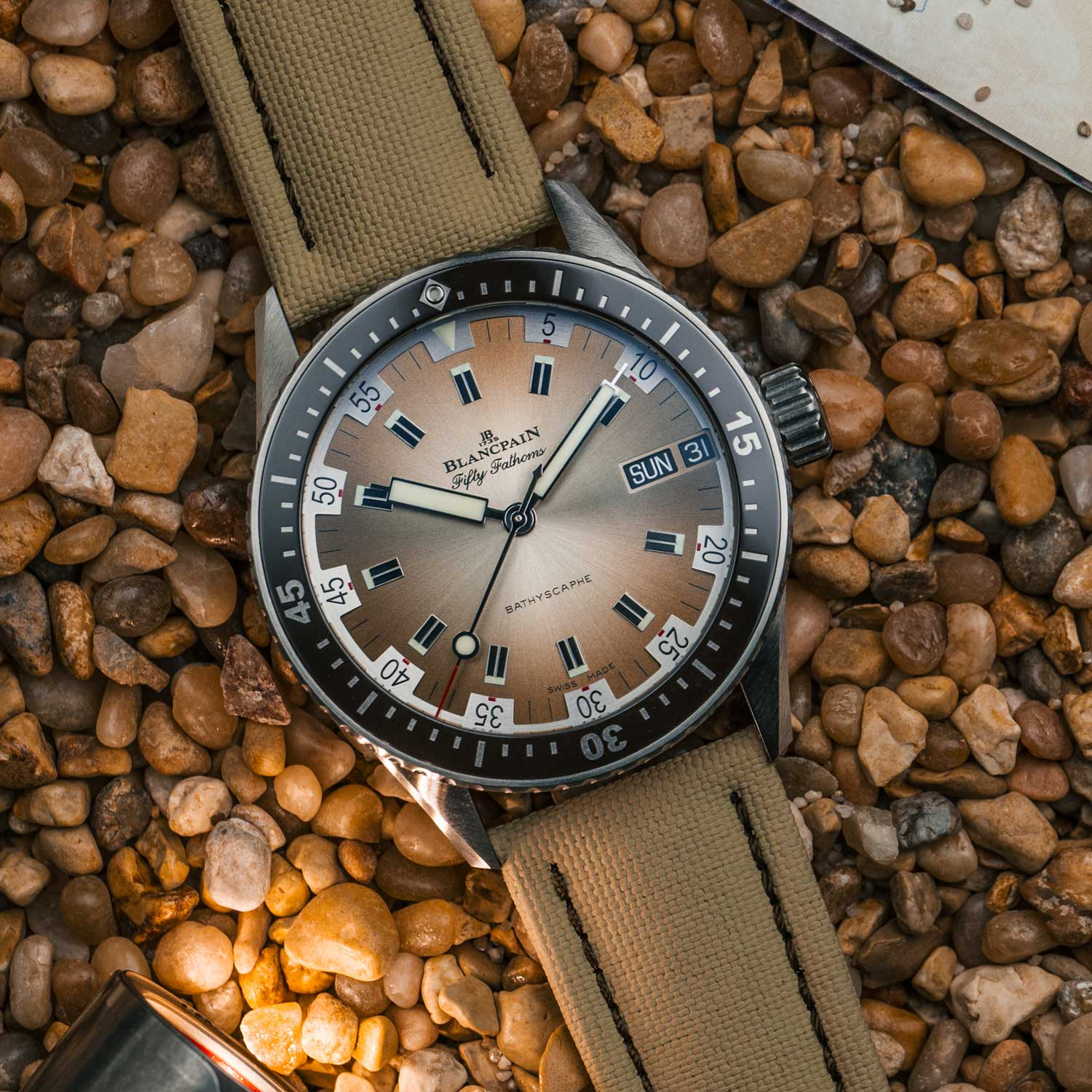 The Fifty Fathoms Bathyscaphe Day Date Desert Edition