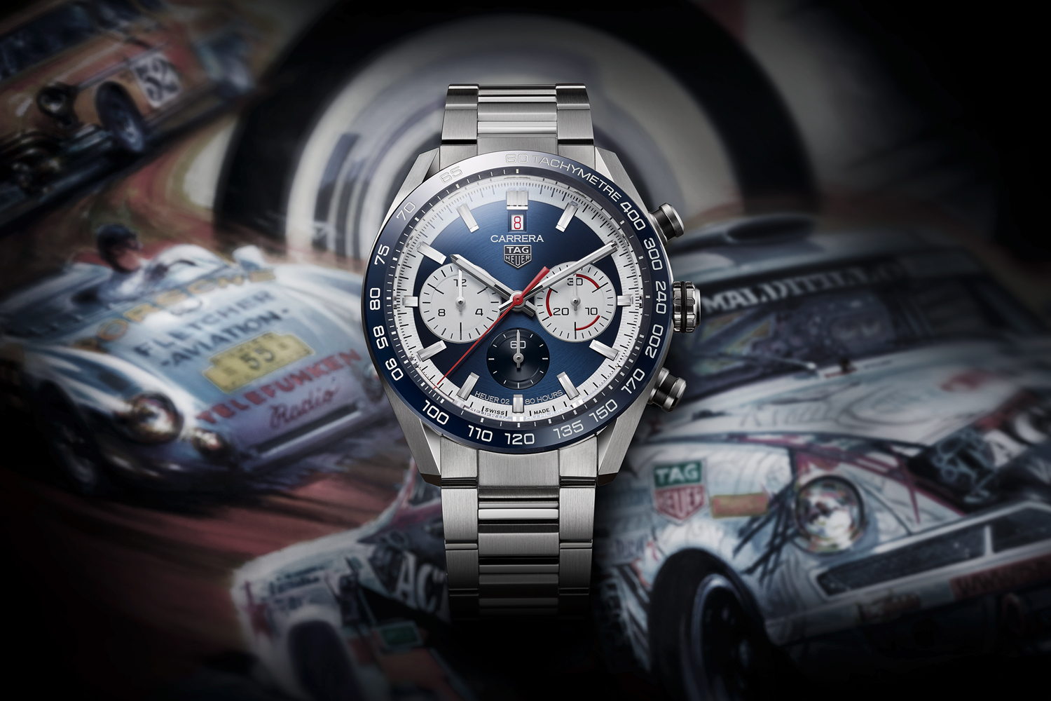 TAG Heuer Carrera Sport Chronograph 44 mm Calibre Heuer 02 Automatic is also available in a blue dial variation with a blue ceramic fixed tachymeter bezel