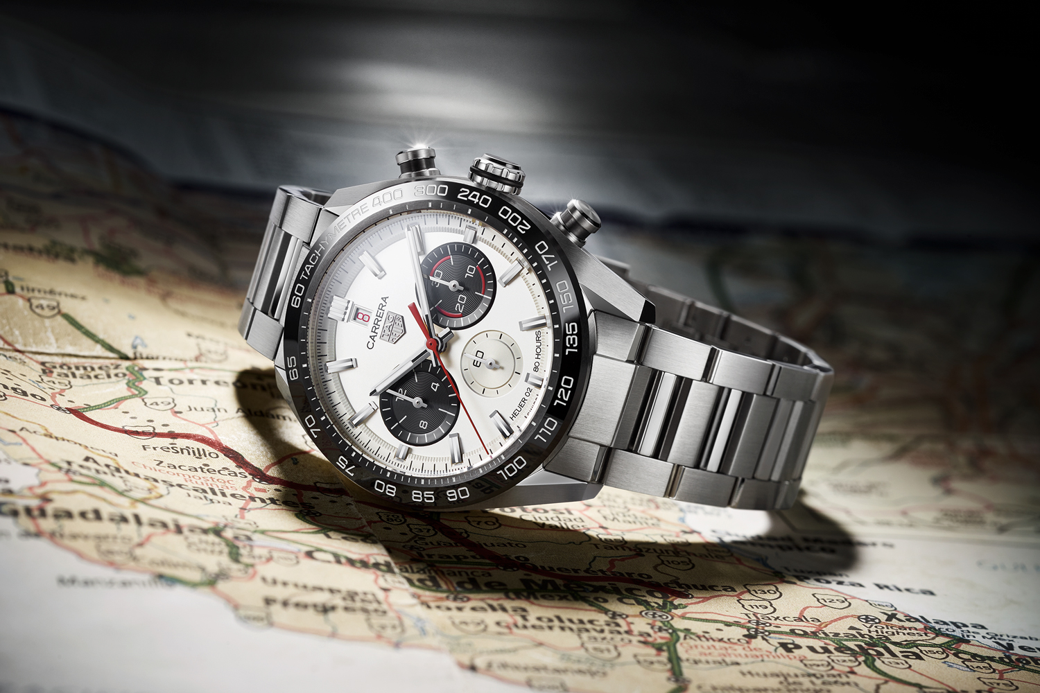 """Inspired by the 1965 """"Dato 45"""": the TAG Heuer Carrera Sport Chronograph Special Edition highlights a milestone year, seen here in the white dial variation with the black ceramic fixed tachymeter bezel"""