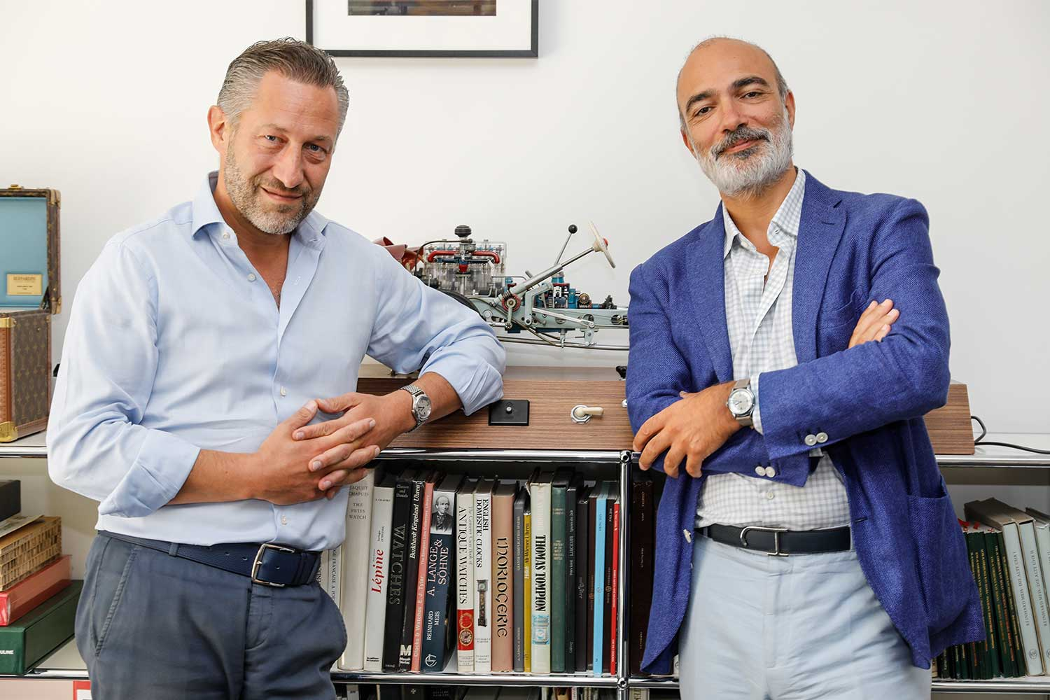 Aurel Bacs, Senior Consultant and Geneva's Head Of Sale, Alex Ghotbi of Phillips Watches sporting their special Laurent Ferrier Micro-Rotor watches (Image: Phillips Watches)