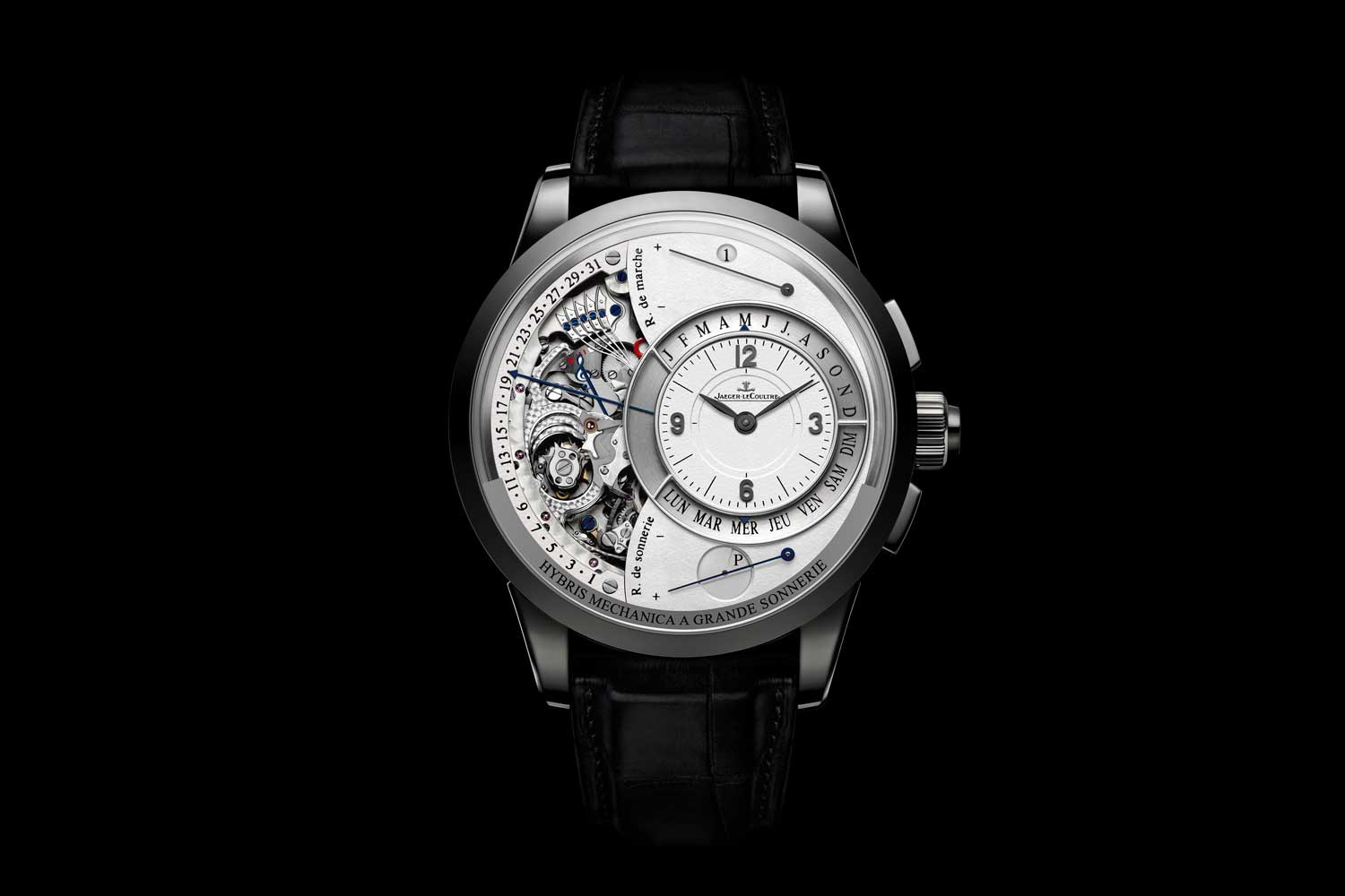 2010: The Jaeger-LeCoultre Hybris Mechanica à Grande Sonnerie features - the striking of the time just as the Tower of Big Ben in Great Britain dictates, every hour and quarter – fully automatic and miniaturized to the size of a wristwatch. Combined with this outstanding feature the watch also comprises a flying tourbillon and a perpetual calendar with retrograde hands; a jumping hour and minute mechanism rounds off the concerto of this elaborate masterpiece of 26-complications