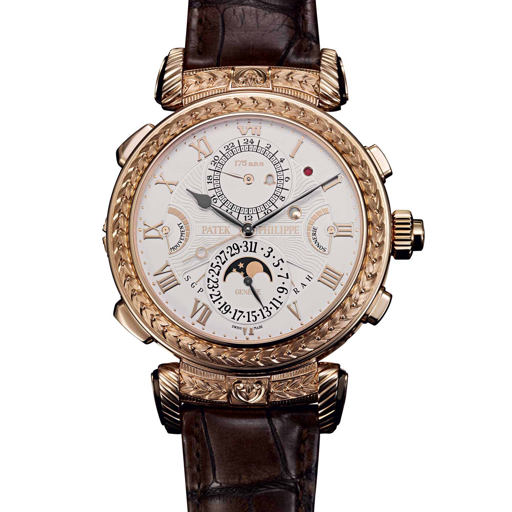 The Time Side: The Patek Philippe Grandmaster Chime Ref. 5175 with the unique hand-engraved case was the star among the commemorative watches presented on the occasion of the manufacture's 175th anniversary in 2014; the reference featured a reversible case decorated with the manufacture's typical hobnail pattern, this opus showcases 20 complications, including five chiming modes, two of which are patented acoustic world debuts