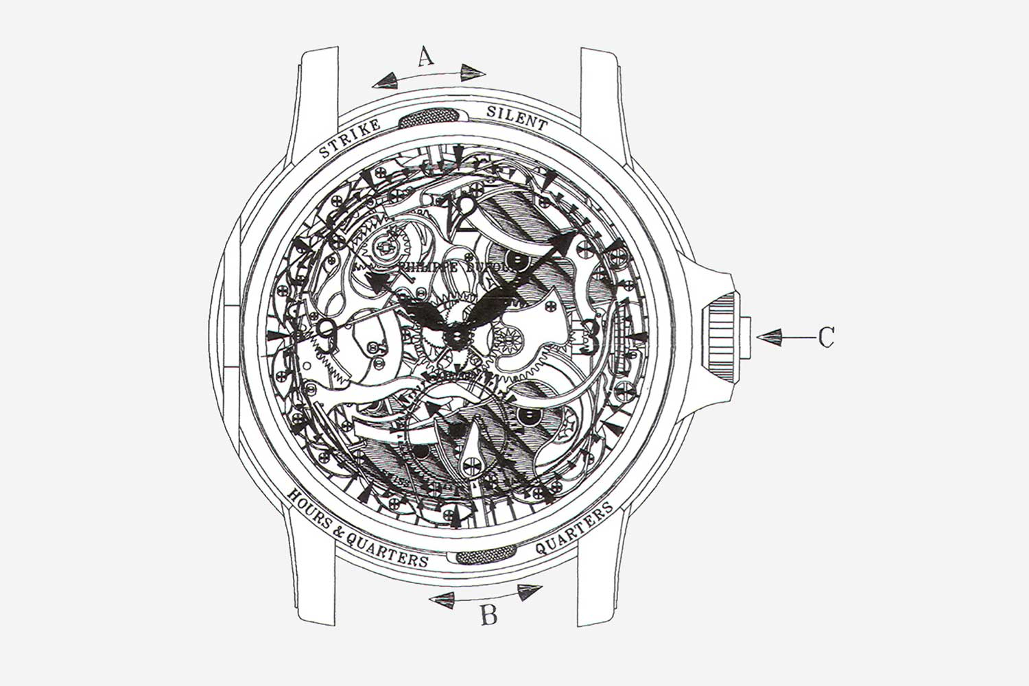 A technical drawing of Dufour's Grande Sonnerie minute-repeater wristwatch, courtesy of Philippe Dufour (Image: acollectedman.com)