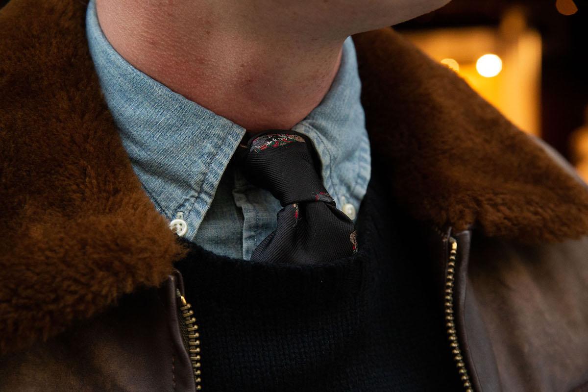 Tom Chamberlin in Ralph Lauren bomber jacket