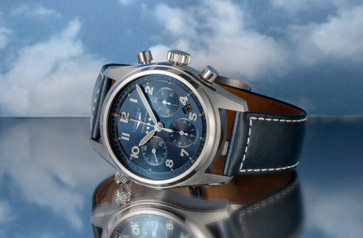 The chronograph addition to the Spirit collection is a 42mm satin and polished stainless steel timepiece; houses a COSC-certified column-wheel chronograph movement (L688.4) with silicon hairspring; a domed sapphire glass protects a sunray blue dial set with Arabic numerals and silvered sandblasted hands coated with Super-LumiNova®; the finishing touch to this exceptional watch is the blue leather strap that complements the case and dial (©Revolution)