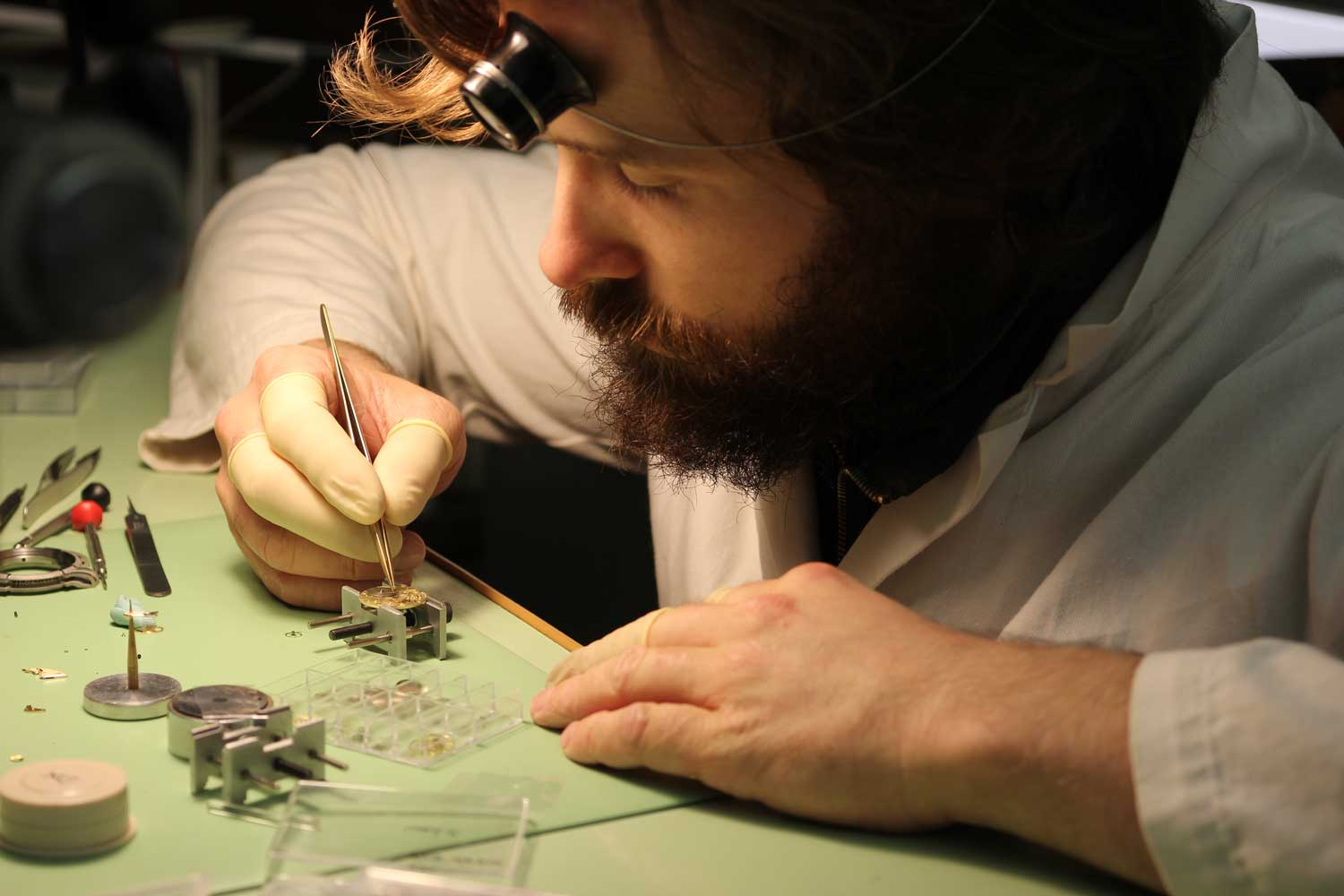 Michiel Holthinrichs at his bench, assembling a highly modified NOS Peseux 7001destined for one of his timepieces