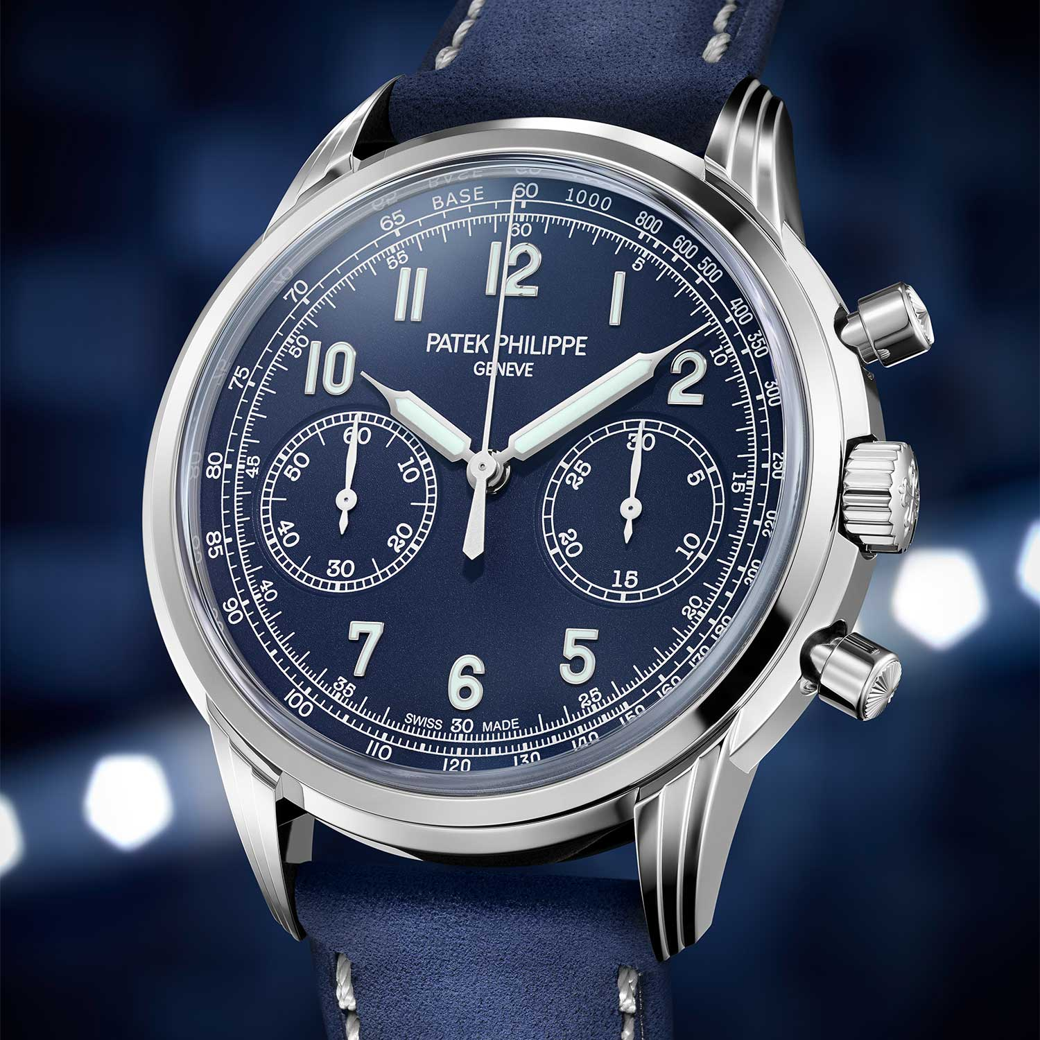 The Patek Philippe Ref. 5172G-001 was launched in 2019 with a blue dial featuring luminous Arabic numerals, hour and minute hands, and a tachymeter scale