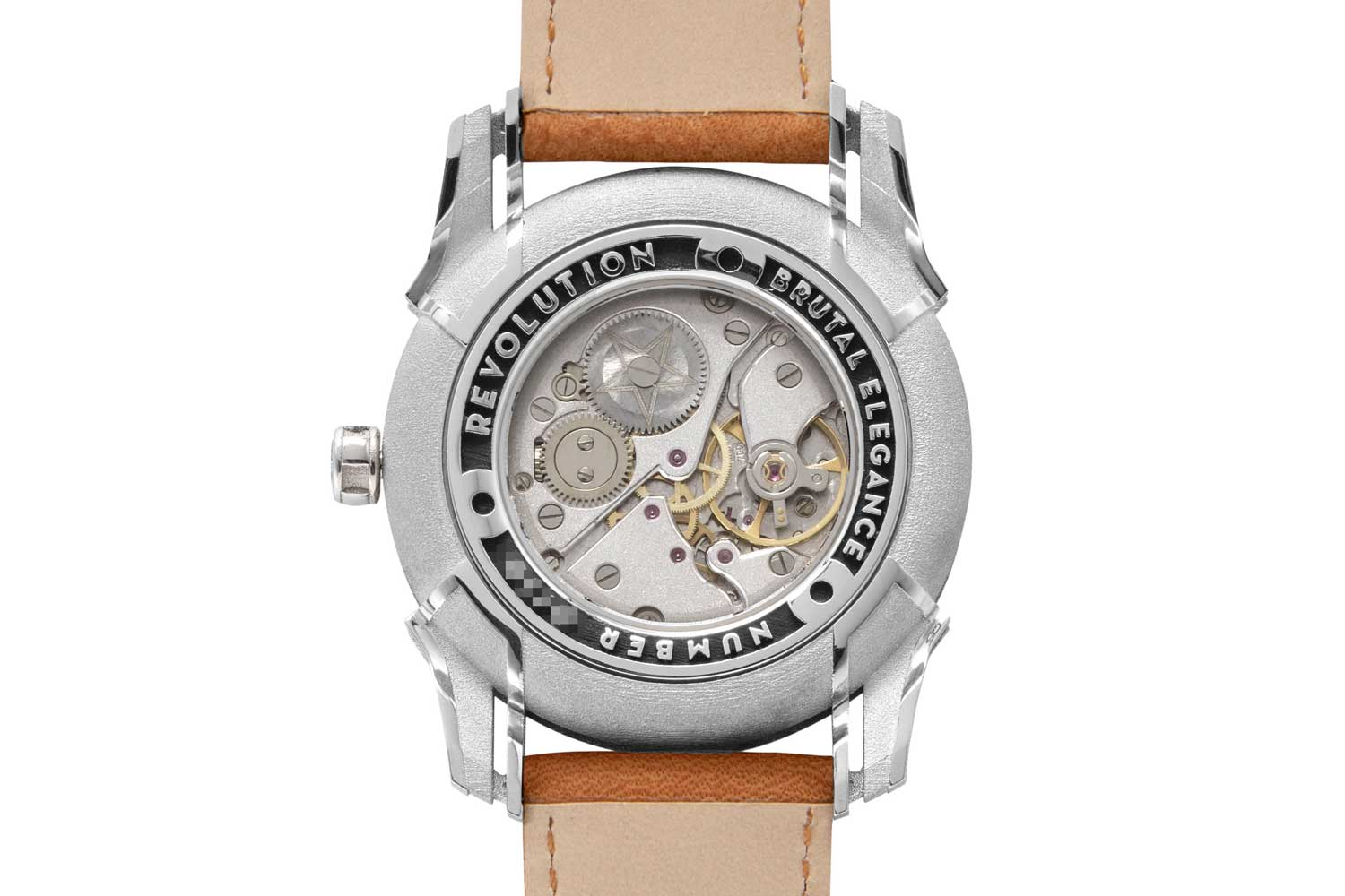 The NOS Peseux 7001 movement used for the Holthinrichs Brutal Elegance Ornament for Revolution features the same sandblasted-type finish on its bridges as on the dial (©Revolution)