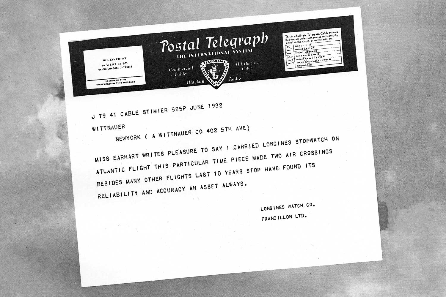Telegram from Amelia Earhart to Longines after her solo non-stop transatlantic flight in 1932; she was wearing a Longines wristwatch