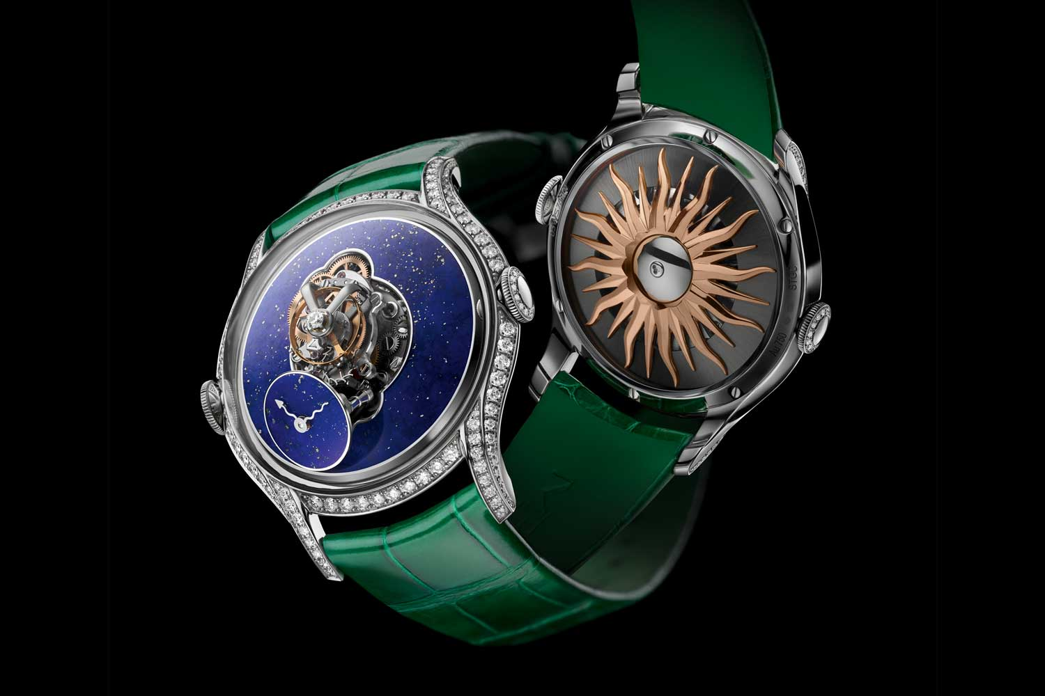 MB&F Legacy Machine FlyingT Lapis Lazuli dial and red gold winding rotor