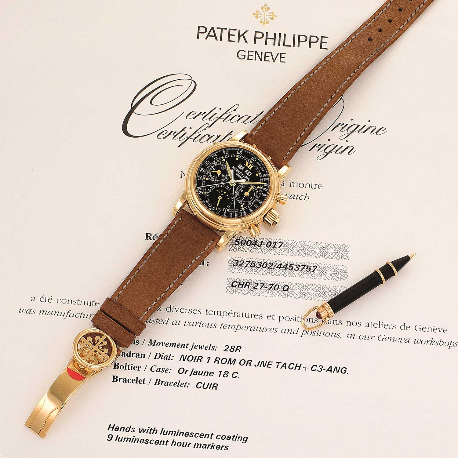 Certificate of Authenticity directly from Patek Philippe on the 5004J-017 (Image: phillips.com)