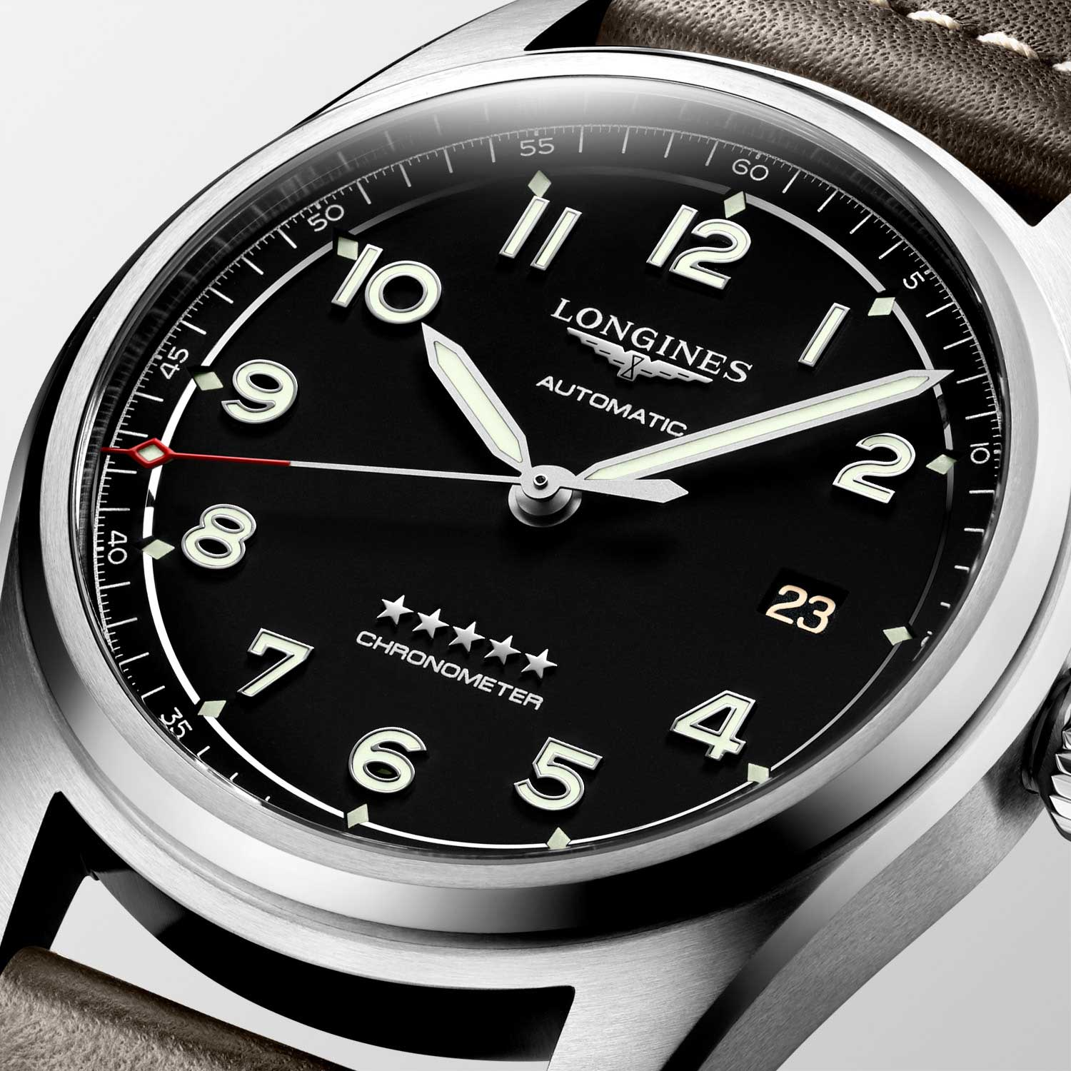 The matt black dial version of the time only addition to the Spirit collection comes in a 42 and 40mm satin and polished steel case variation; housed inside is an exclusive COSC-certified self-winding movement (L888.4) with silicon hairspring; a domed sapphire glass protects the dial set with Arabic numerals and silvered sandblasted hands coated with Super-LumiNova®
