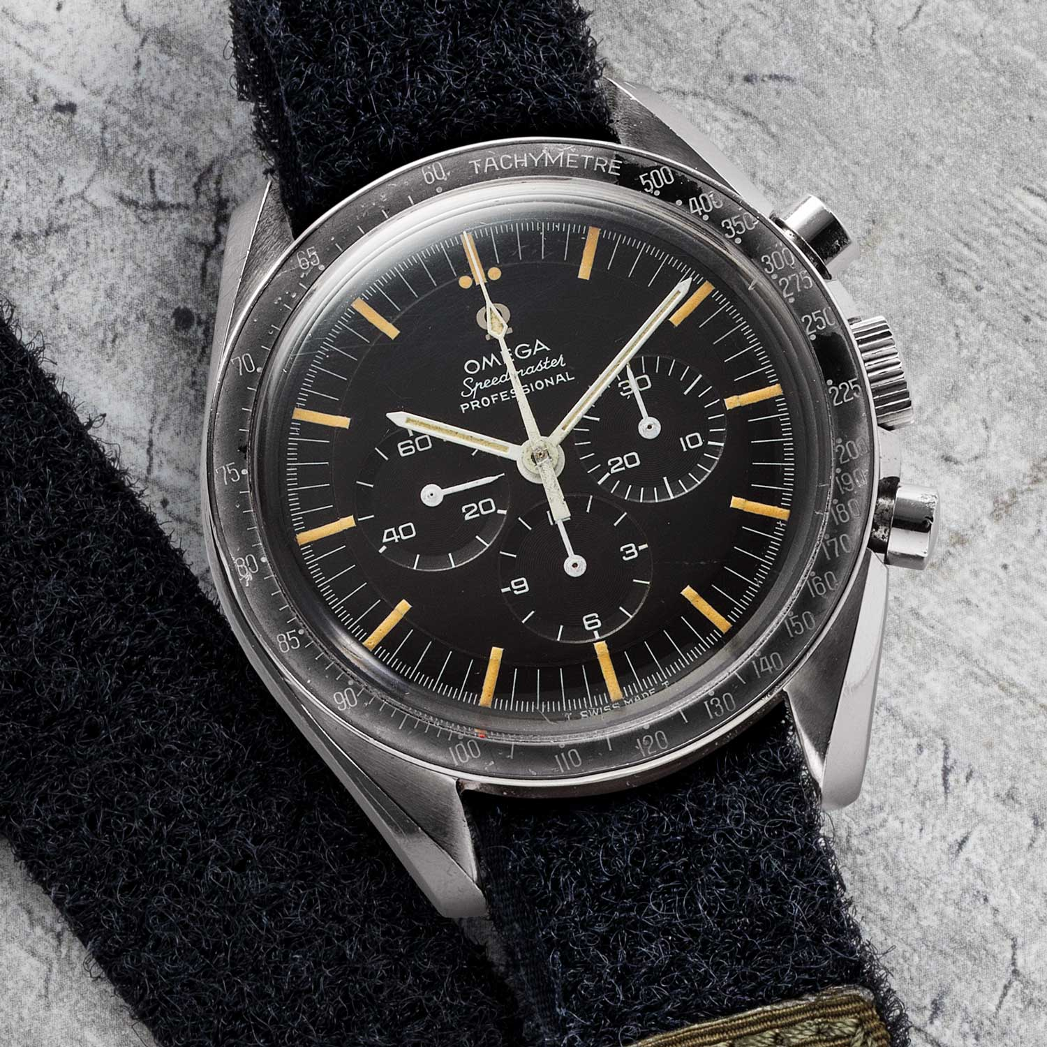 An example of the Omega Speedmaster ref. ST105.012, which was powered by the Calibre 321, Omega's own take on the Lemania 2310; the movement was used to power the Speedmaster from 1959 to 1968, when it was replaced by the Calibre 861; the ST105.012 and ST145.012 were the Speedmasters that went to the moon on the wrists of Apollo astronauts (©Revolution)