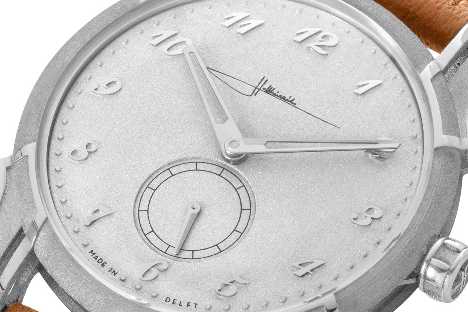 A closer look at the sandblasted-type finish dial contrasted by high-polished angular applied Breguet numerals on the Holthinrichs Brutal Elegance Ornament for Revolution (©Revolution)