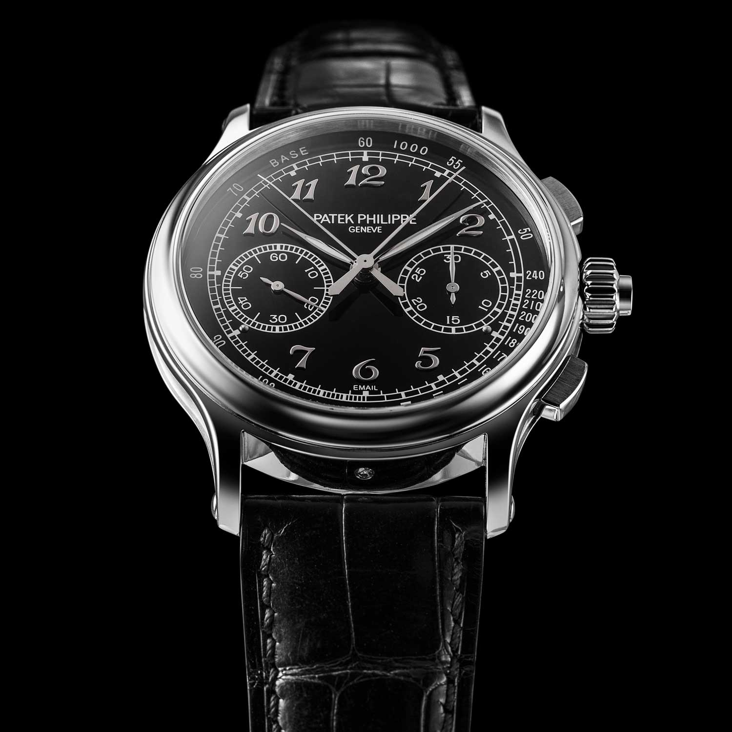 The immensely revered, Patek Philippe 5370P-001 Split-Second Chronograph with a black enamel dial and gold applied Breguet numerals; the watch was launched in 2015 (©Revolution)