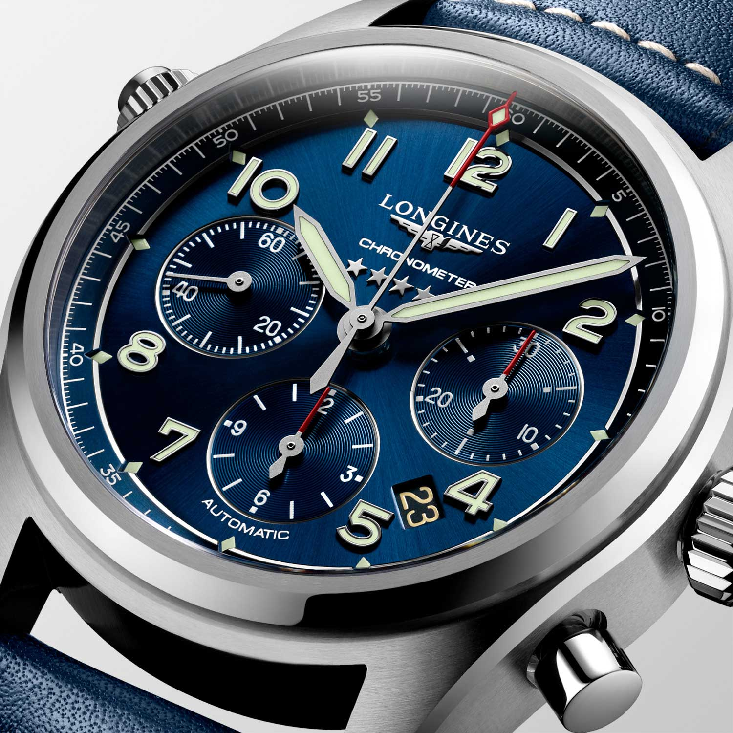 The chronograph addition to the Spirit collection is a 42mm satin and polished stainless steel timepiece; houses a COSC-certified column-wheel chronograph movement (L688.4) with silicon hairspring; a domed sapphire glass protects a sunray blue dial set with Arabic numerals and silvered sandblasted hands coated with Super-LumiNova®; the finishing touch to this exceptional watch is the blue leather strap that complements the case and dial