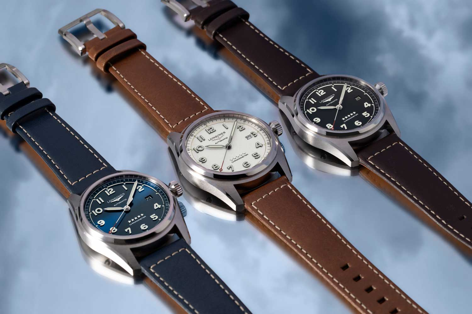 The sunray blue dial, silver grained dial and matt black dial versions of the time only additions to the Spirit collection, which come in a 42 and 40mm satin and polished steel case variation are both seen here fitted on matched leather straps (©Revolution)