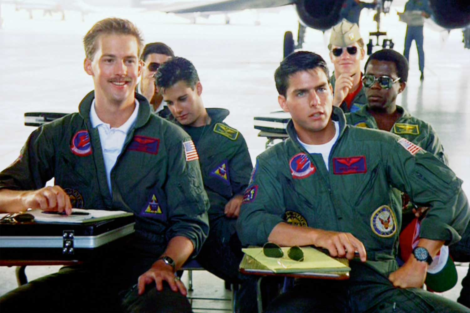 "Tom Cruise starred as Naval Aviator Lieutenant Pete ""Maverick"" Mitchell wearing the black Porsche Design Orfina Chronograph in the film ""Top Gun"" (Image: Getty Images)"