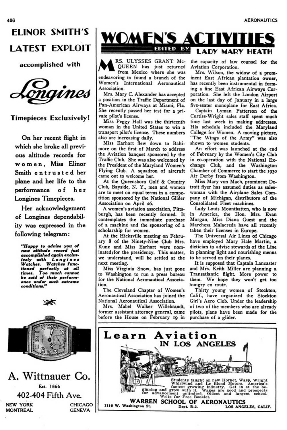 Longines advertisement, from 1930, publicising one of the altitude records set by Elinor Smith, she was wearing Longines watches