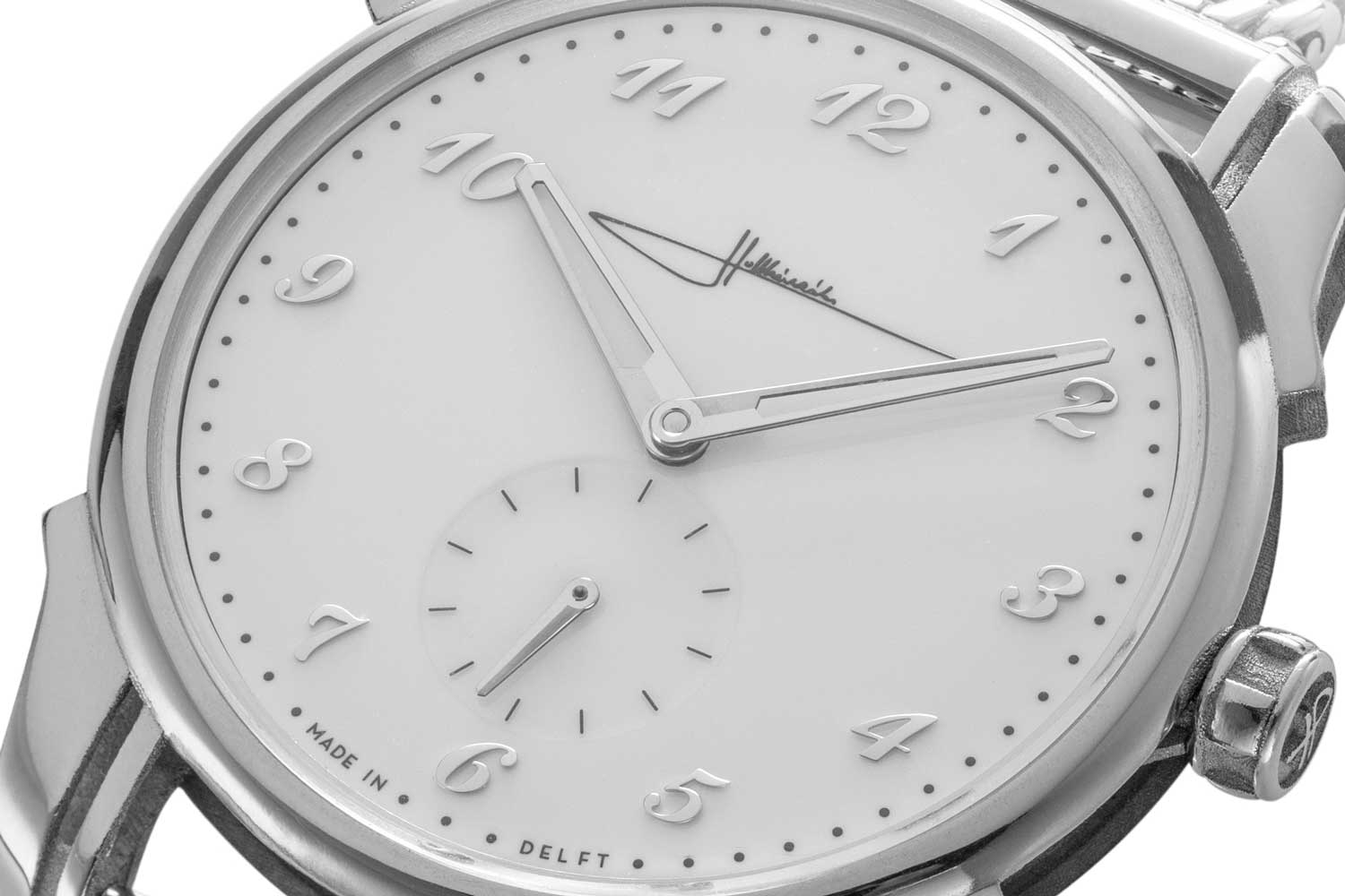 A closer look at the white stretched lacquer dial contrasted by high-polished rounded applied Breguet numerals on the Holthinrichs Refined Elegance Ornament Limited Edition for The Rake (©Revolution)