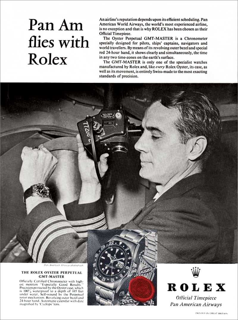 Vintage advertisement showing a Pan Am pilot checking out his Rolex GMT-Master