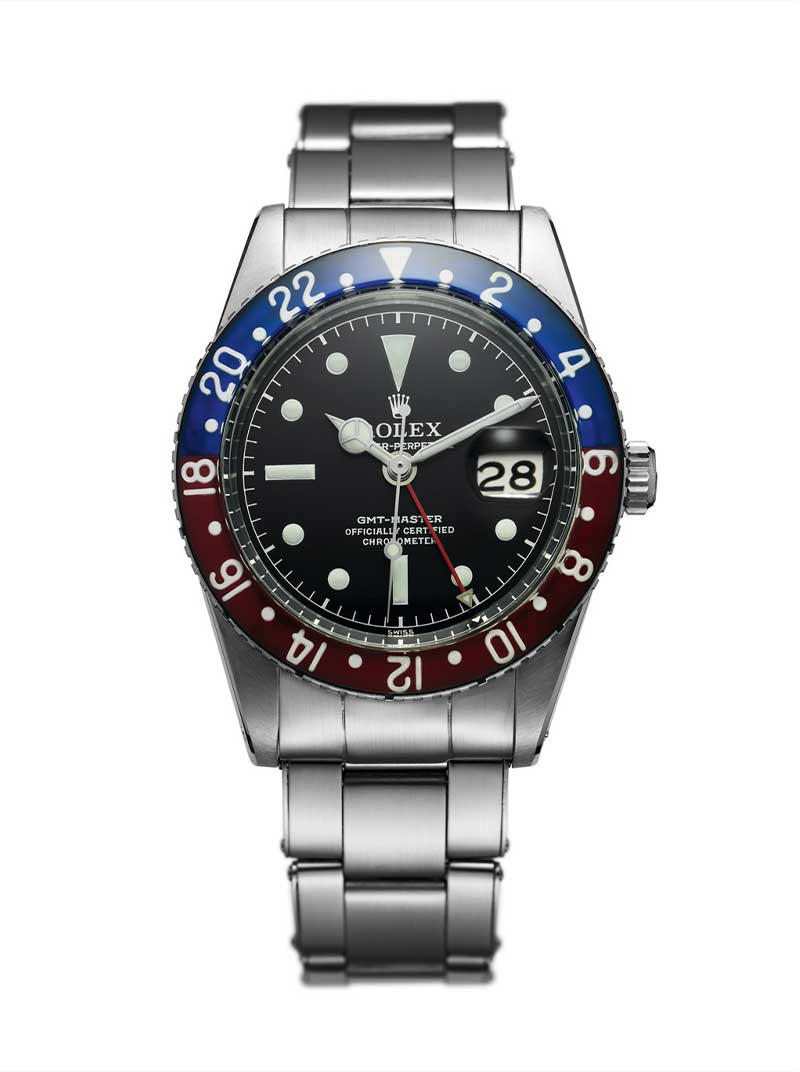 Rolex launched the GMT-Master in 1955, the reference 6542; the watch had a rotating bezel with a luminous bakelite insert and a second hour hand to help the watch track an alternate timezone