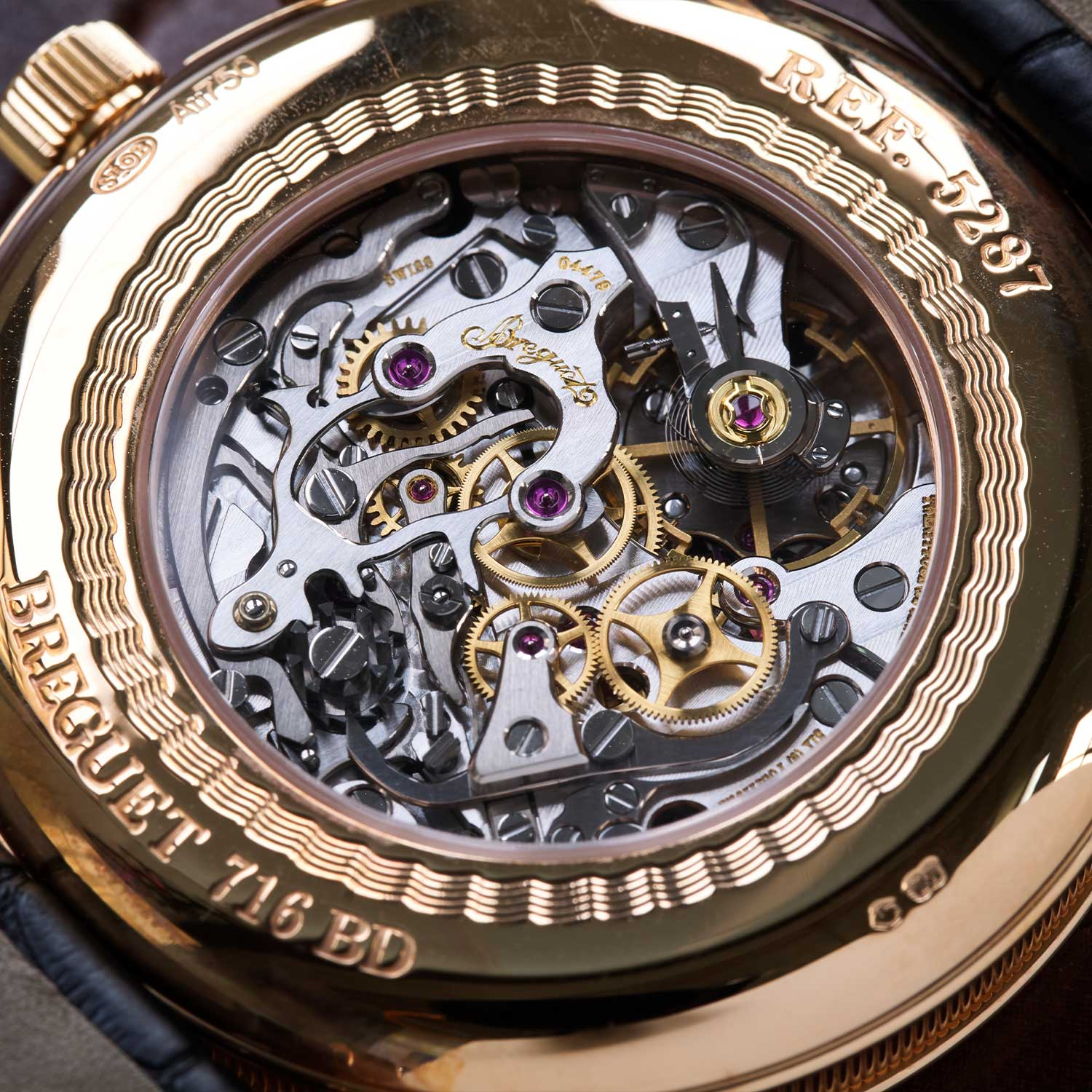 Breguet's version of the Lemania 2320 is the only one with 24 jewels, possibly owing to the power reserve indicator on the dial side (©Revolution)