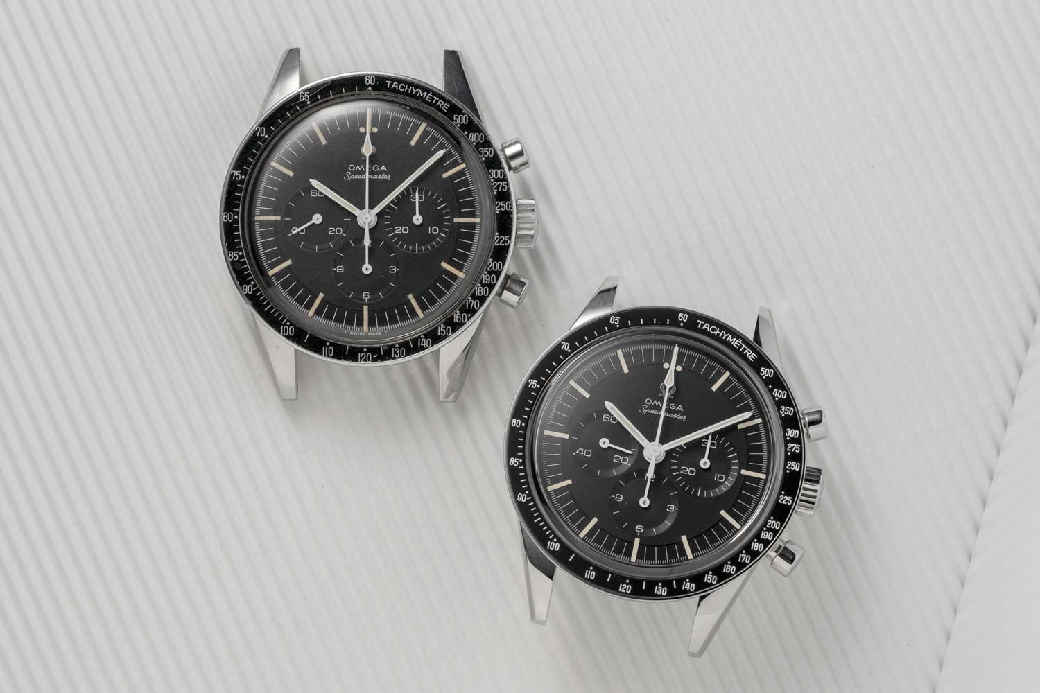 "Near identical: The 1963 Reference ST105.003 — ""Ed White"" belonging to Revolution on the left, seen here next to a 2020 Speedmaster Moonwatch 321 Stainless Steel (©Revolution)"