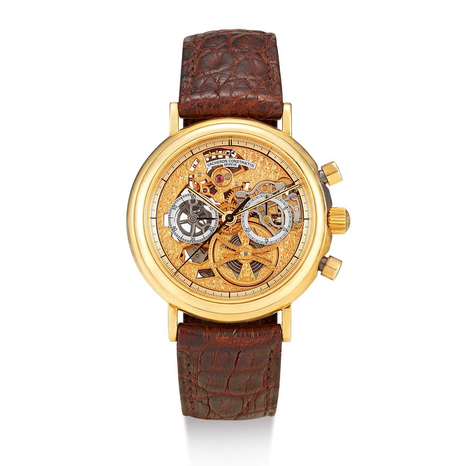 One of the coolest and most stunning executions of the Lemania movement is found in this fully skeletonized Vacheron Constantin Patrimony Chronograph ref. 47100, these are trading in the USD30,000 range, making them a bargain to me (Image: Sothebys.com)