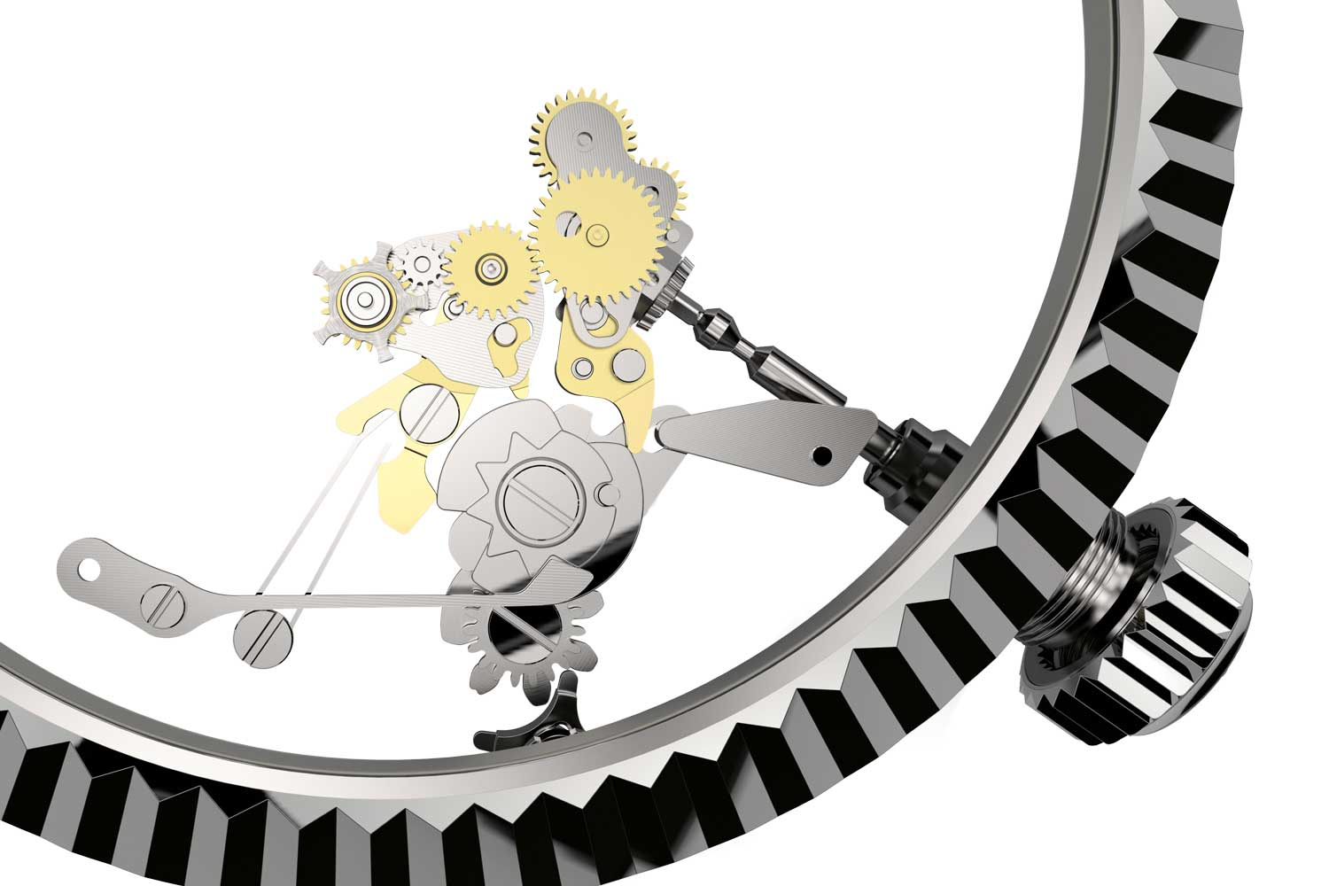 A view of the planetary gear system of the rotatable fluted bezel, controlled by the crown, which in different positions, offer up a number of different complications on the Oyster Perpetual Sky-Dweller