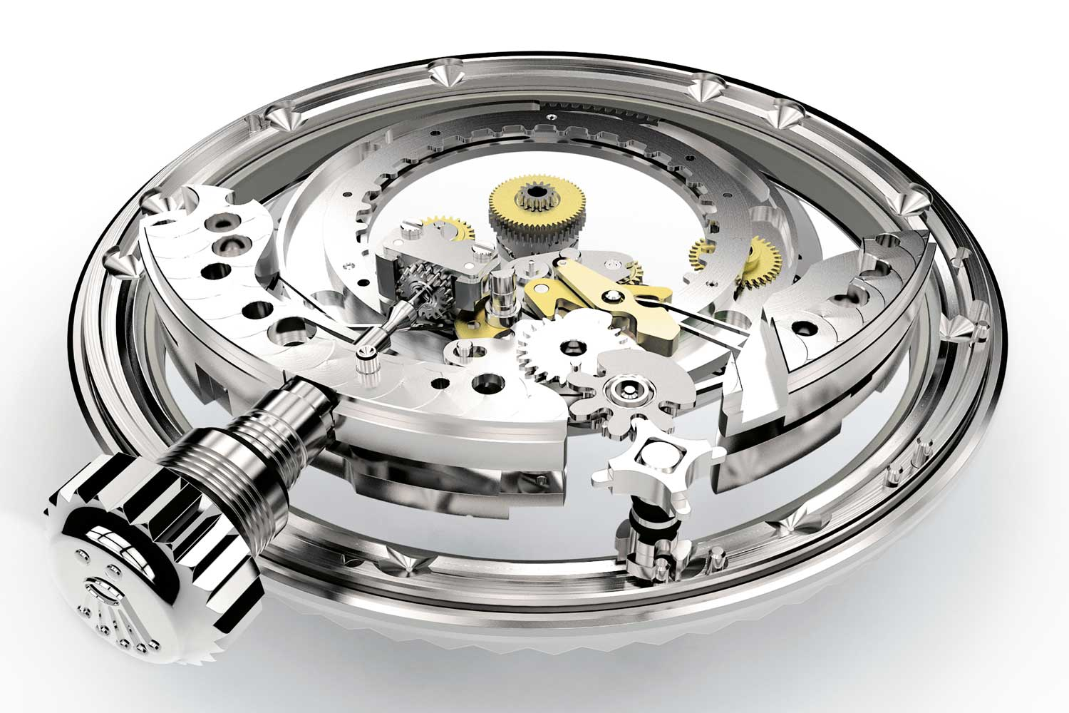 A view of the planetary gear system from the business side of the rotatable fluted bezel, controlled by the crown, which in different positions, offer up a number of different complications on the Oyster Perpetual Sky-Dweller