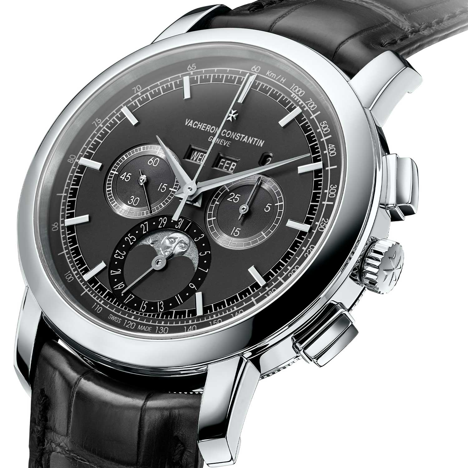 The Vacheron Constantin Traditionnelle Chronograph Perpetual Calendar was introduced at SIHH 2017 in platinum and pink gold