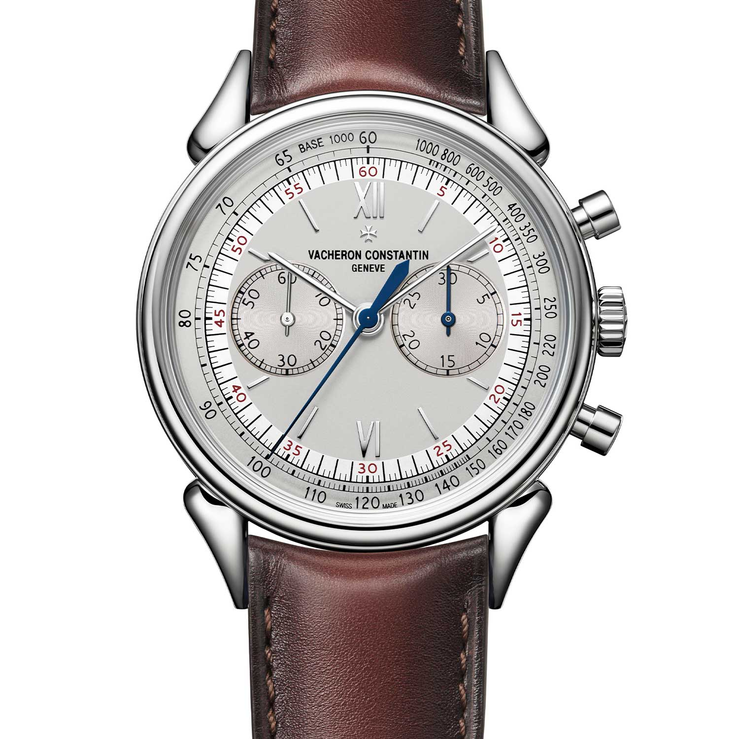 Vacheron Constantin Historiques Cornes de vache 1955 ref. 5000H/000A-B582 in stainless steel was launched in 2019, the watch comes fitted on a dark brown calf leather with Serapian patina