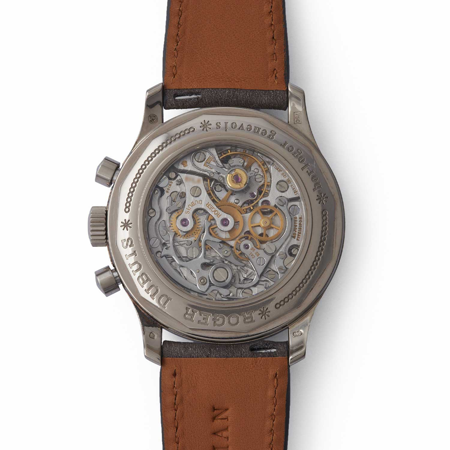 Caseback view of the Roger Dubuis Hommage Chronograph showcasing the Lemania-based manual-winding Cal. RD 56 (Image: acollectedman.com)