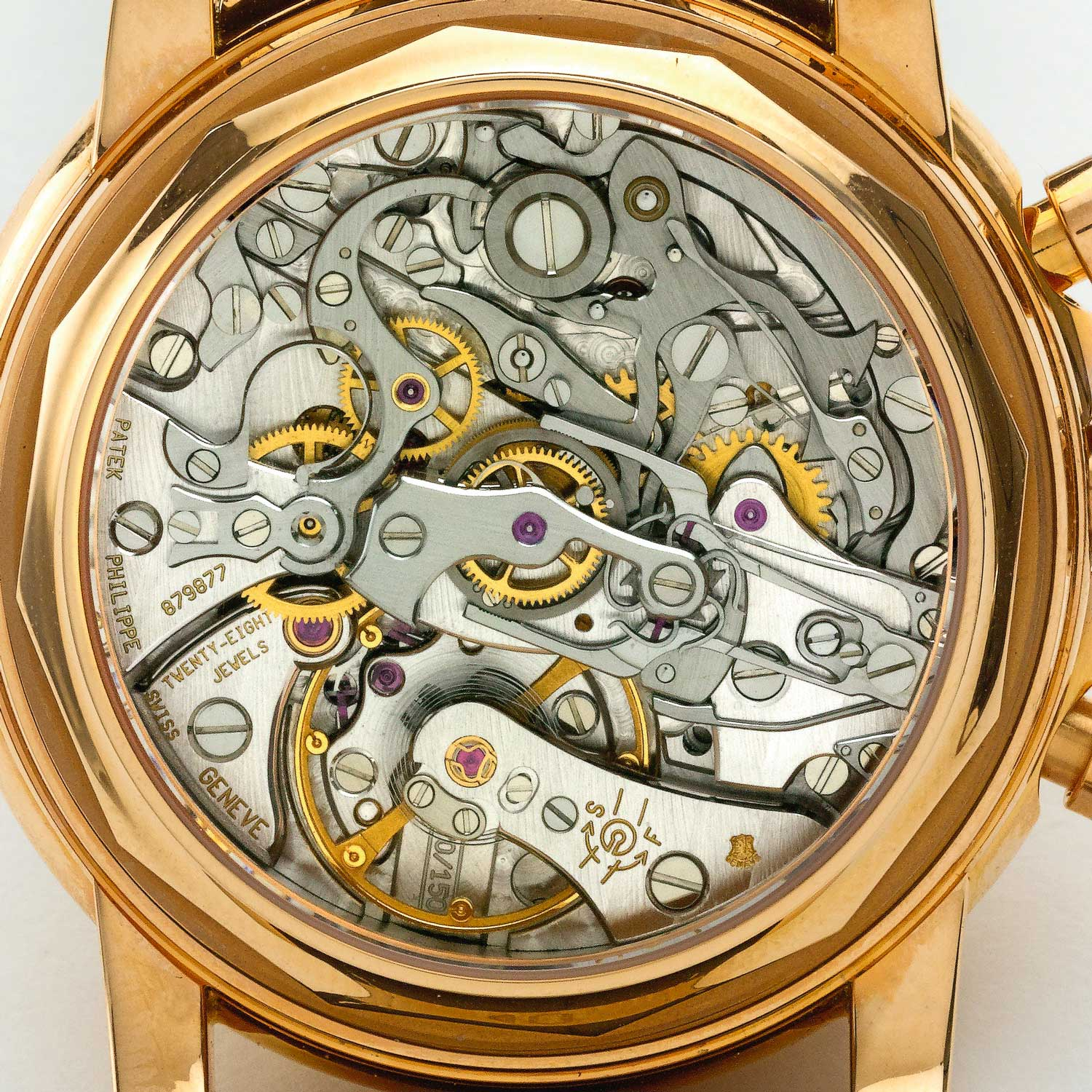 A caseback view of the Patek Philippe 5004, showcasing the Lemania-based CHR 27-70Q (Image: sothebys.com)