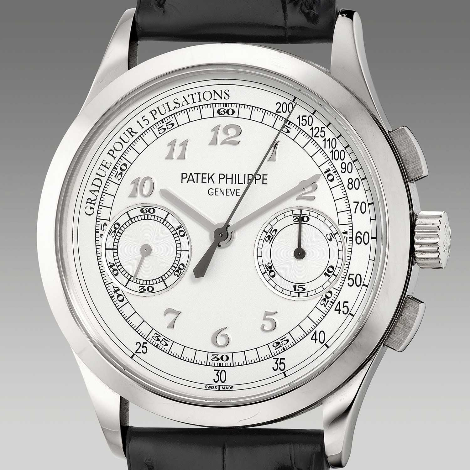 The Ref. 5170G-001 was launched in 2013; this second version of the watch featured a white gold case with applied Breguet hour markers and a pulsation scale (Image: Phillips.com)