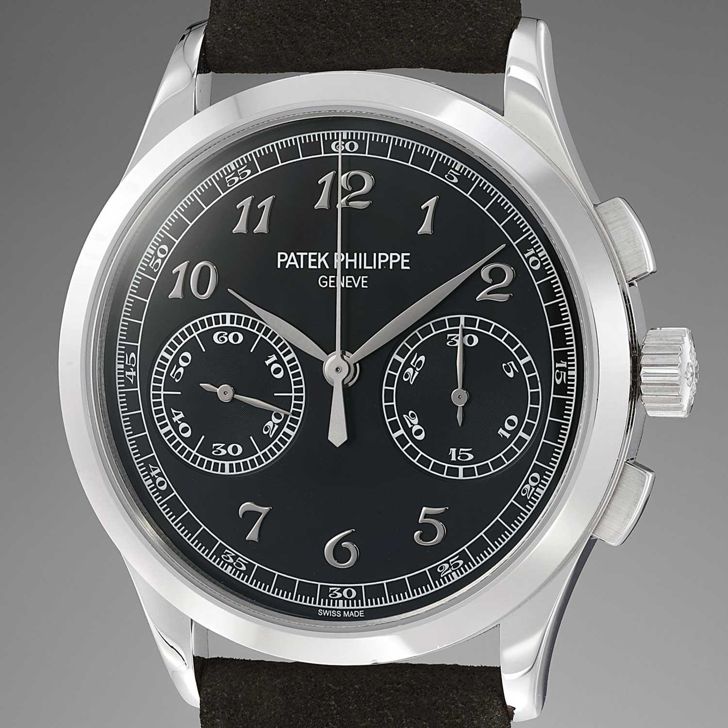 The Ref. 5170G-010 was launched in 2015; this second version of the watch featured a white gold case with applied Breguet hour markers on a black dial, devoid of a specialty chronograph scale (Image: Phillips.com)
