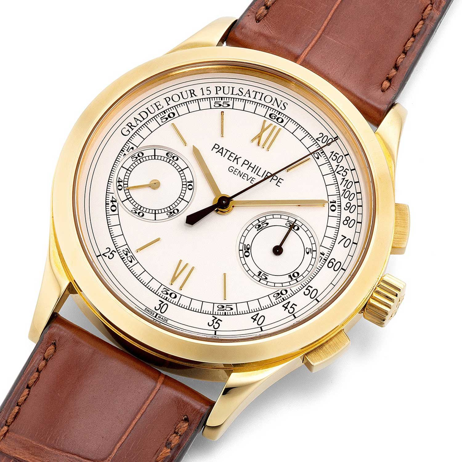 The 2010 Patek Philippe Ref. 5170J's dial is the only one in the reference to feature a combination of Roman Numerals and baton hour markers with a pulsation chronograph scale (Image: Phillips.com)