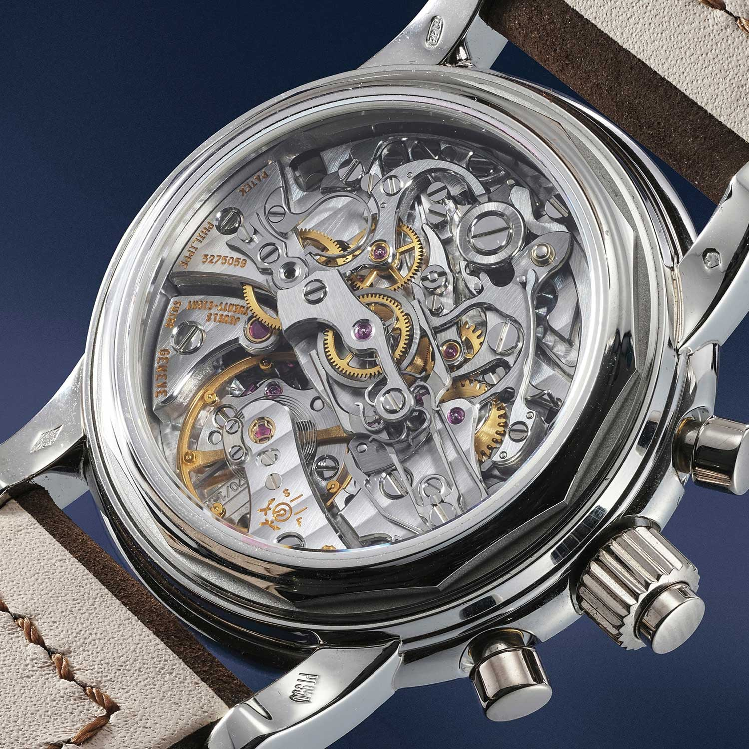 Caseback view of the Patek Philippe ref. 5004P showcasing the CHR27-70Q powering this monumental piece of watchmaking mastery (Image: Phillips.com)