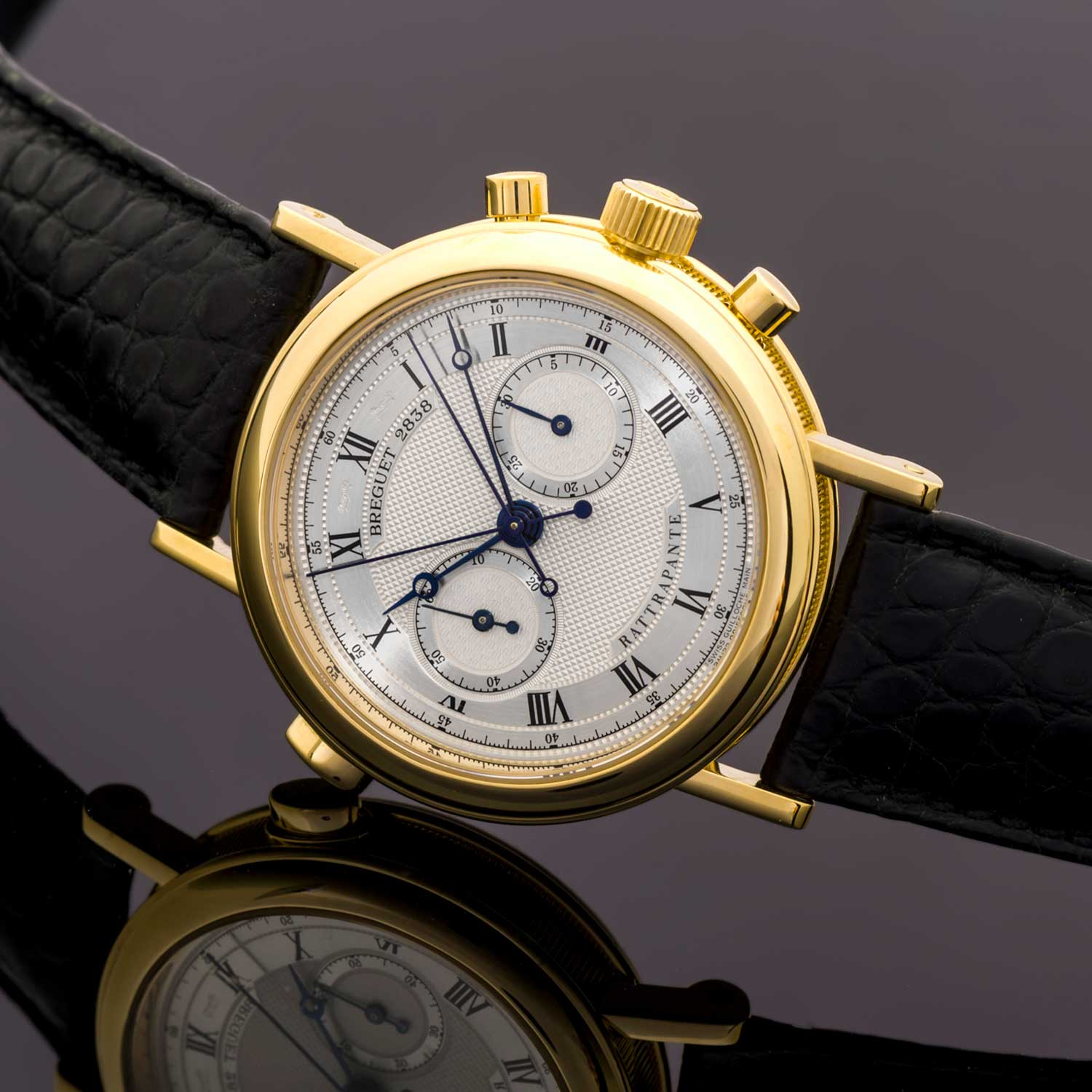 Breguet 3947 Split-Seconds Chronograph is particularly easy to identify with its oval shaped split pusher positioned at 10 o'clock of the case of the watch; the timepiece was powered by the Cal. 533N (Image: catalog.antiquorum.swiss)