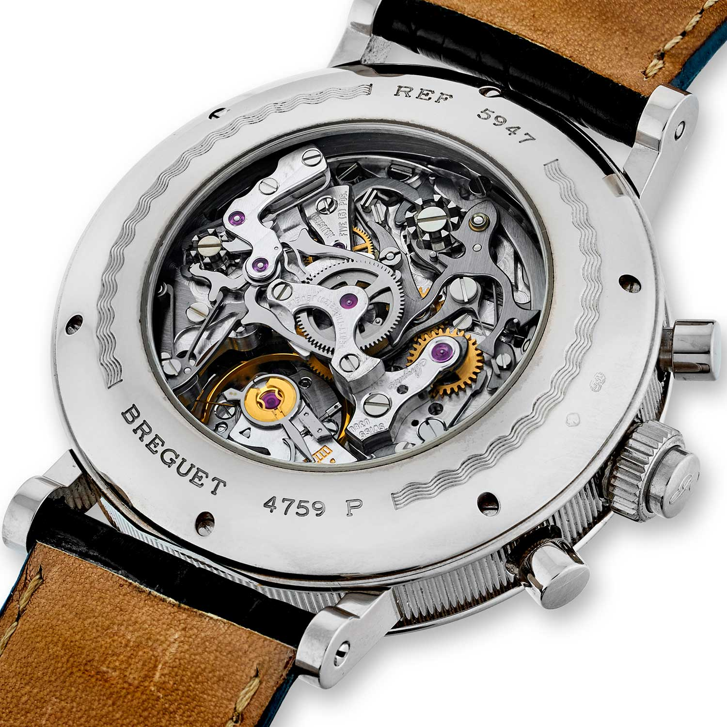 View of the Breguet 5947's caseback showcasing the Cal. 535N powering the timepiece (Image: Christies.com)