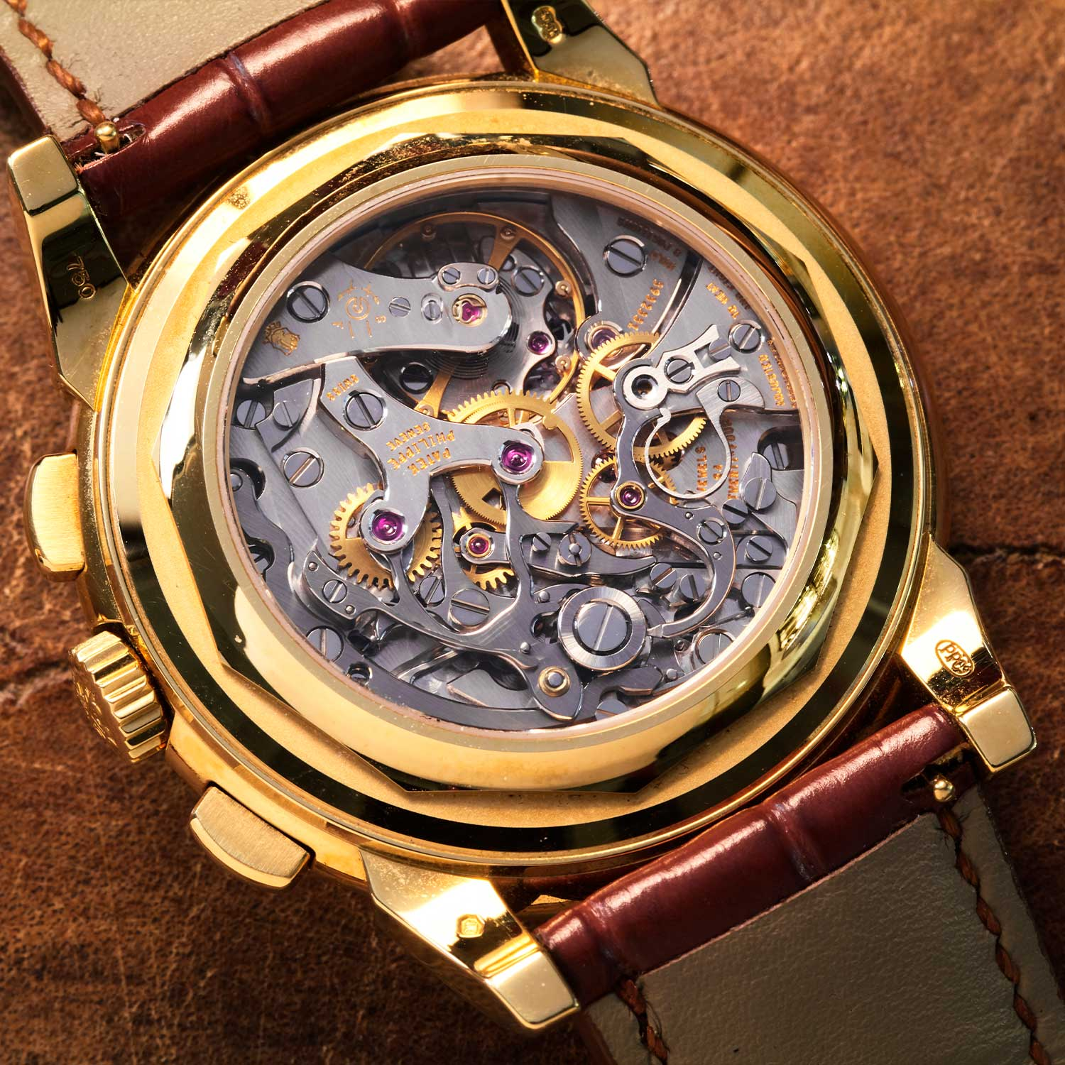 Caseback view of Wei's Patek Philippe Perpetual Calendar Chronograph ref. 5970 showcasing the Lemania-based CH 27-70 (©Revolution)