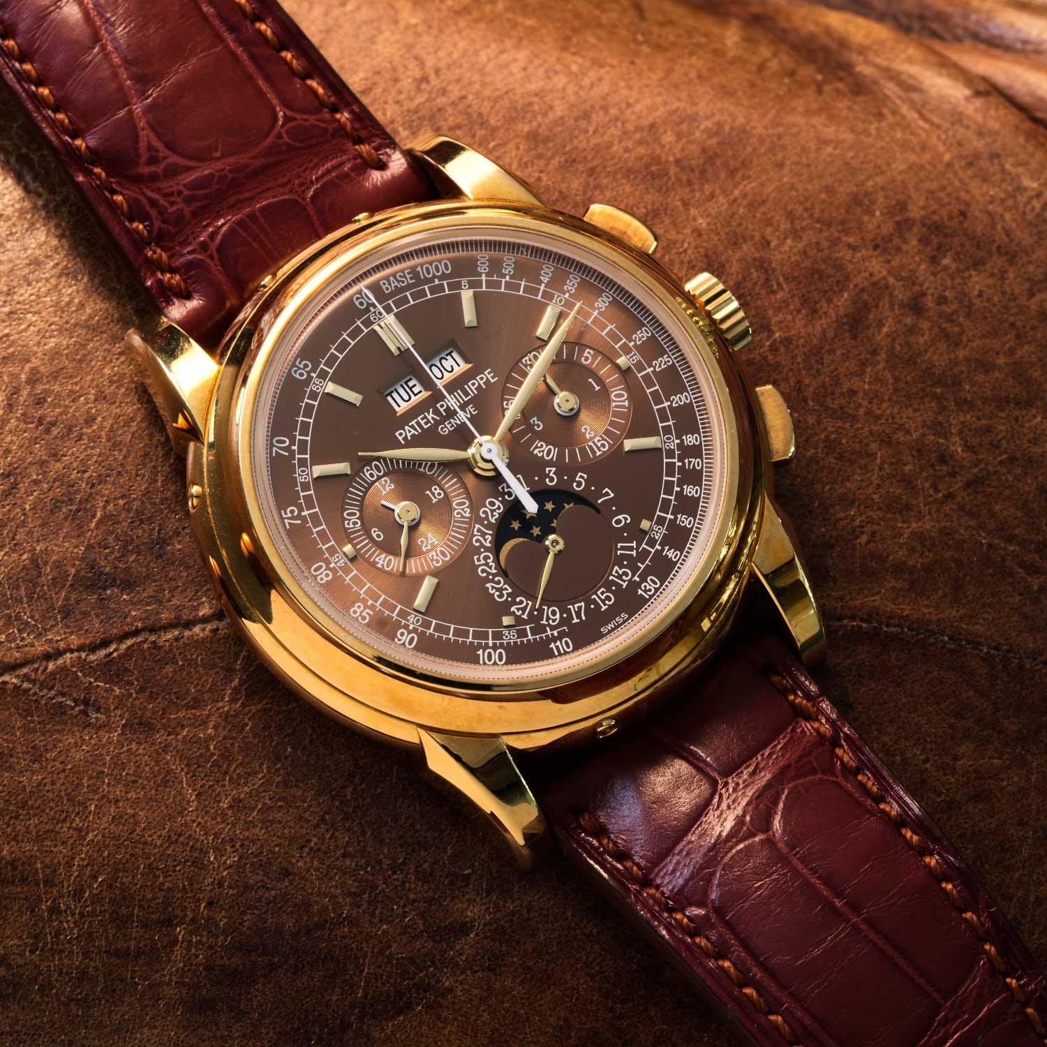 Wei's Patek Philippe Perpetual Calendar Chronograph ref. 5970 in rose gold with a unique chocolate dial (©Revolution)