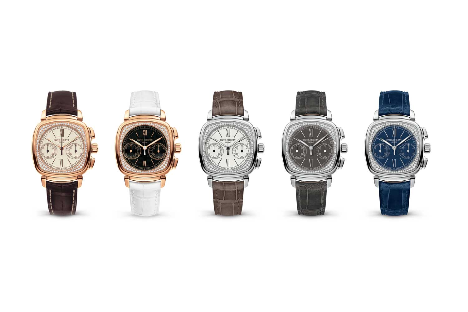 From left, the various executions of the 7071 and their production years: Rose gold, gem-set with silver dial, 2010–2017: rose gold, gem-set with black dial, 2010–2017; white gold, gem-set with silver; dial, 2012–2017; white gold, gem-set with gray dial, 2012–2017; white gold, gem-set with blue dial, 2012–2017
