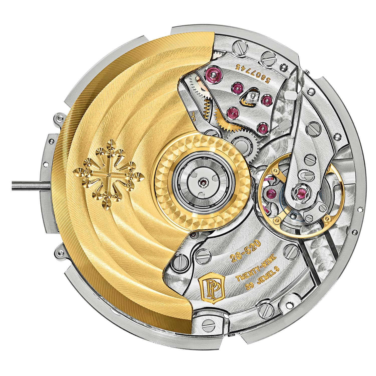 Patek Philippe's first in-house chronograph movement is the automatic vertical-clutch-driven caliber CH 28-520 found in the annual calendar chronograph references such as, the ref. 5905