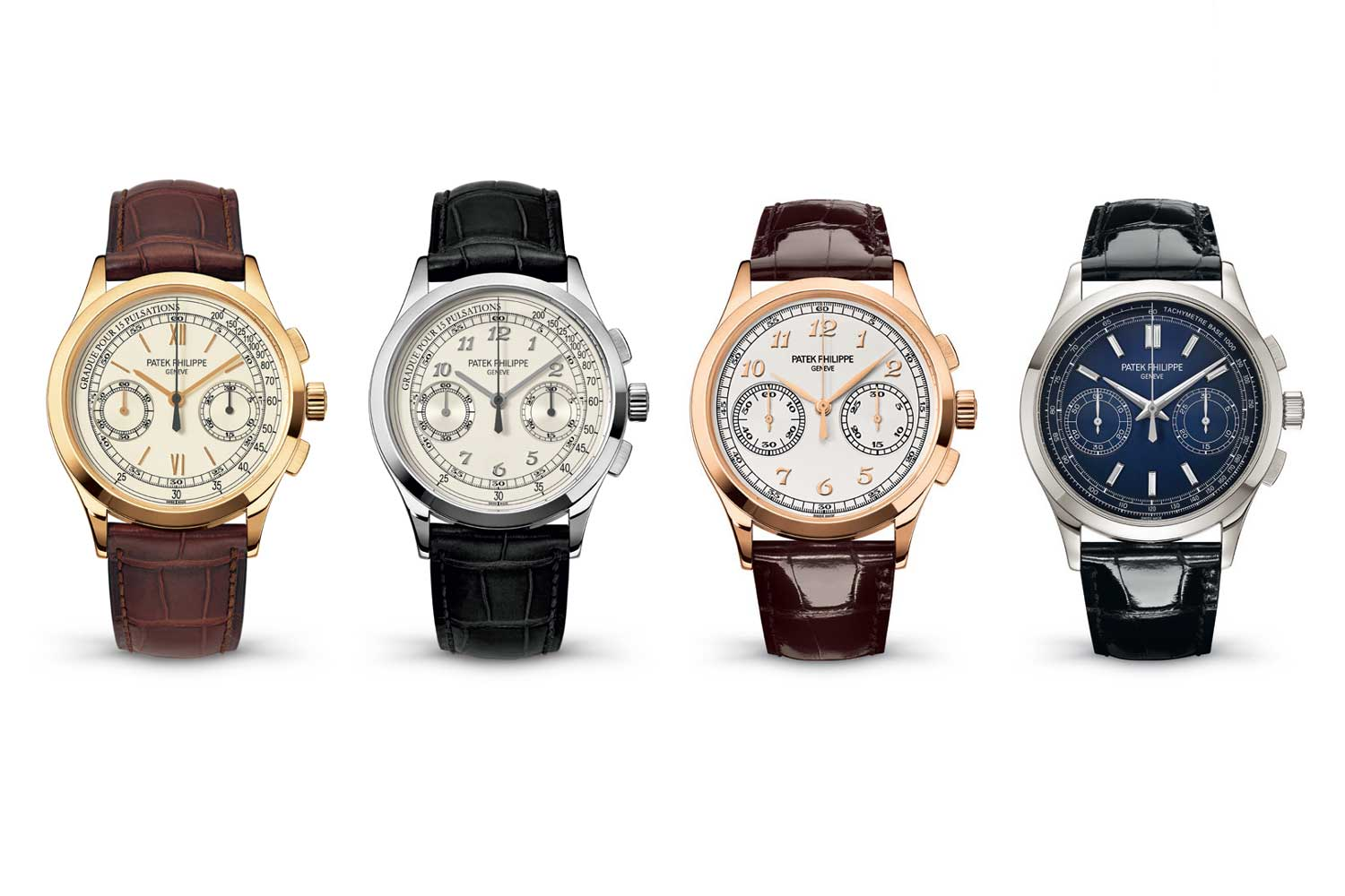 From left, key executions of the 5170 and their production years: Yellow gold with Roman Numerals 5170J-001, 2010-2014; White Gold with Breguet numerals 5170G-001, 2013-2016; Rose Gold with Breguet Numerals 5170R-001, 2016-2018; Platinum with Diamond Hour Markers 5170P-001, 2017-2019